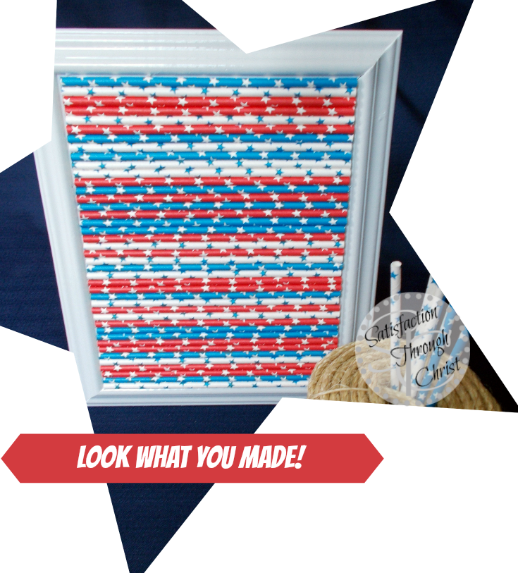 Easy July 4th Patriotic Artwork from STC blog Paper Straw Photo frame hot glue easy project picture tutorial
