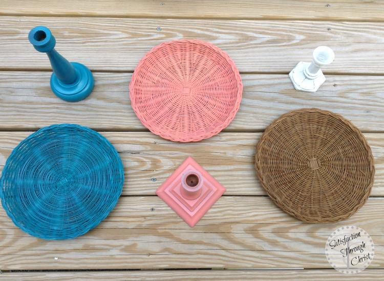 wicker pedestal plate DIY