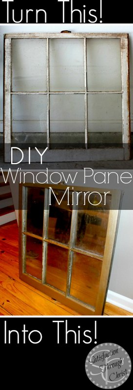 Turn an old window pane into a piece of art with this DIY Window Pane Mirror tutorial!