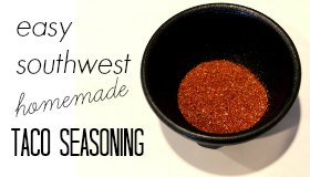 Easy, southwest inspired homemade taco seasoning recipe. All the spices and herbs you need to make a delicious, family friendly taco night!