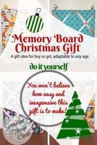 DIY Christmas gift idea for boy or girl, adaptable to any age. Memory Boards as #handmade Christmas gifts! | Satisfaction Through Christ #DIY #Christmas