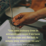 Rocking Ordinary is an honest book of practical wisdom that shows how leading an ordinary life of obedience makes you a successful Christian woman.